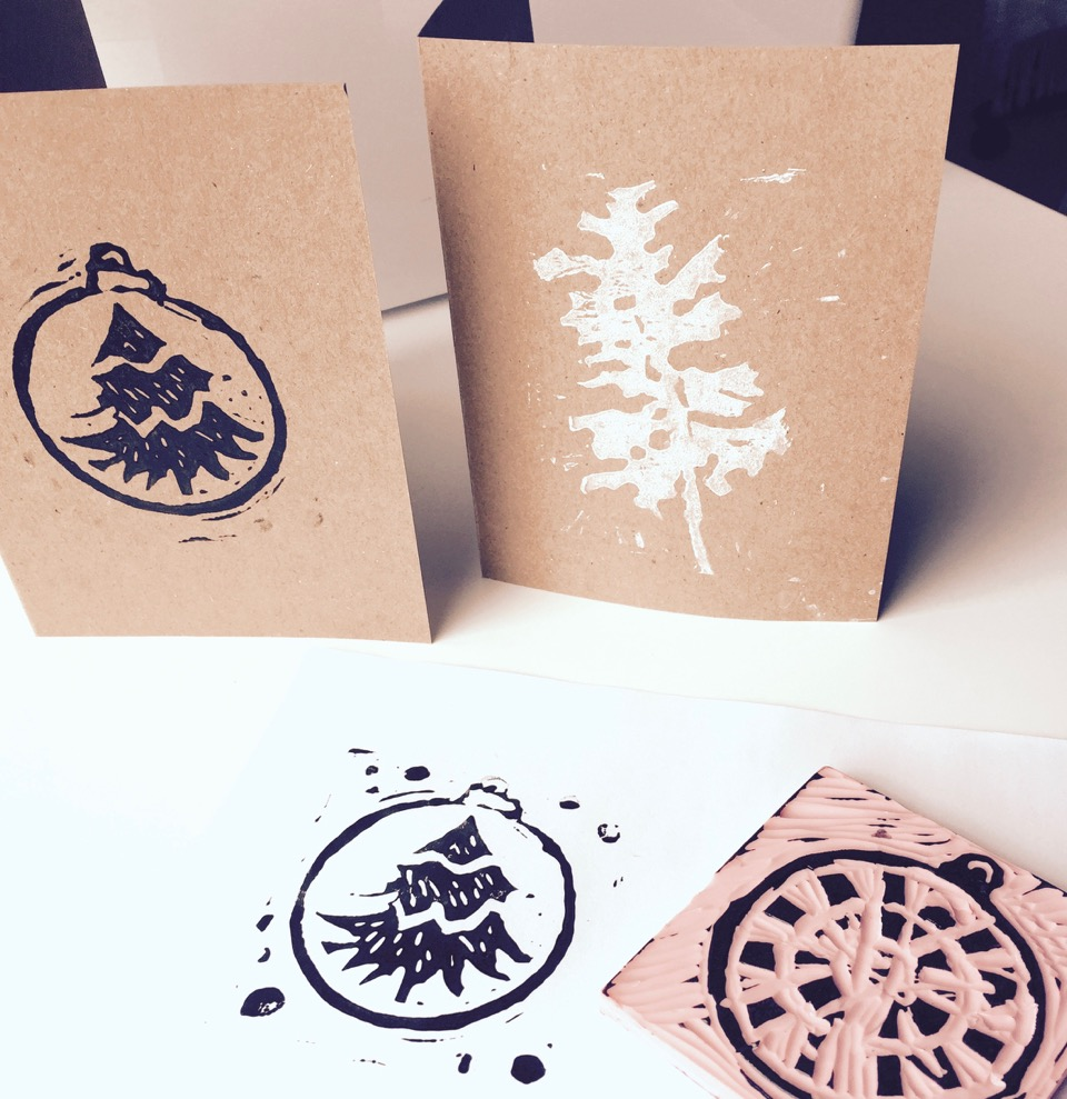 Printmaking: Holiday Cards with Holly Ann Friesen (ages  4+)