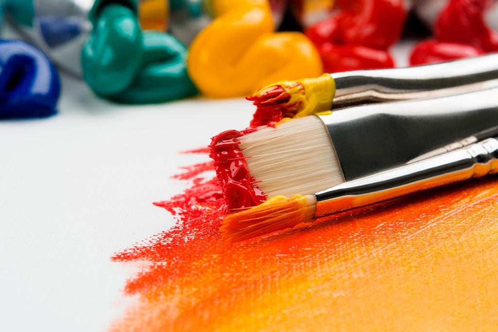 acrylic paint and paintbrushes
