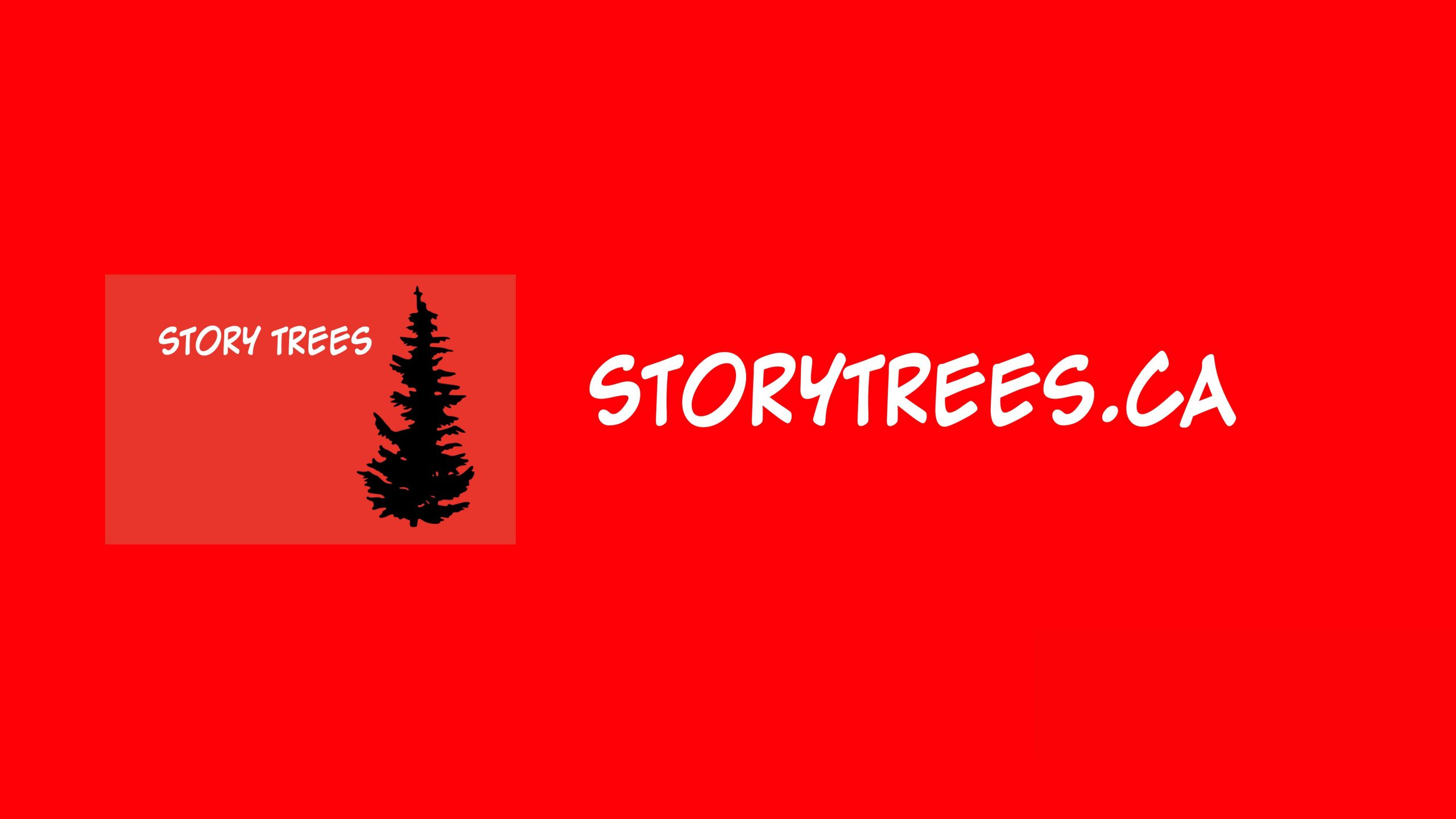 """Story Trees exhibition banner. Bright red background featuring a small, black silhouette of a pine tree and text in white that reads """"STORY TREES"""" (left) and """"STORYTREES.CA"""" (right)."""