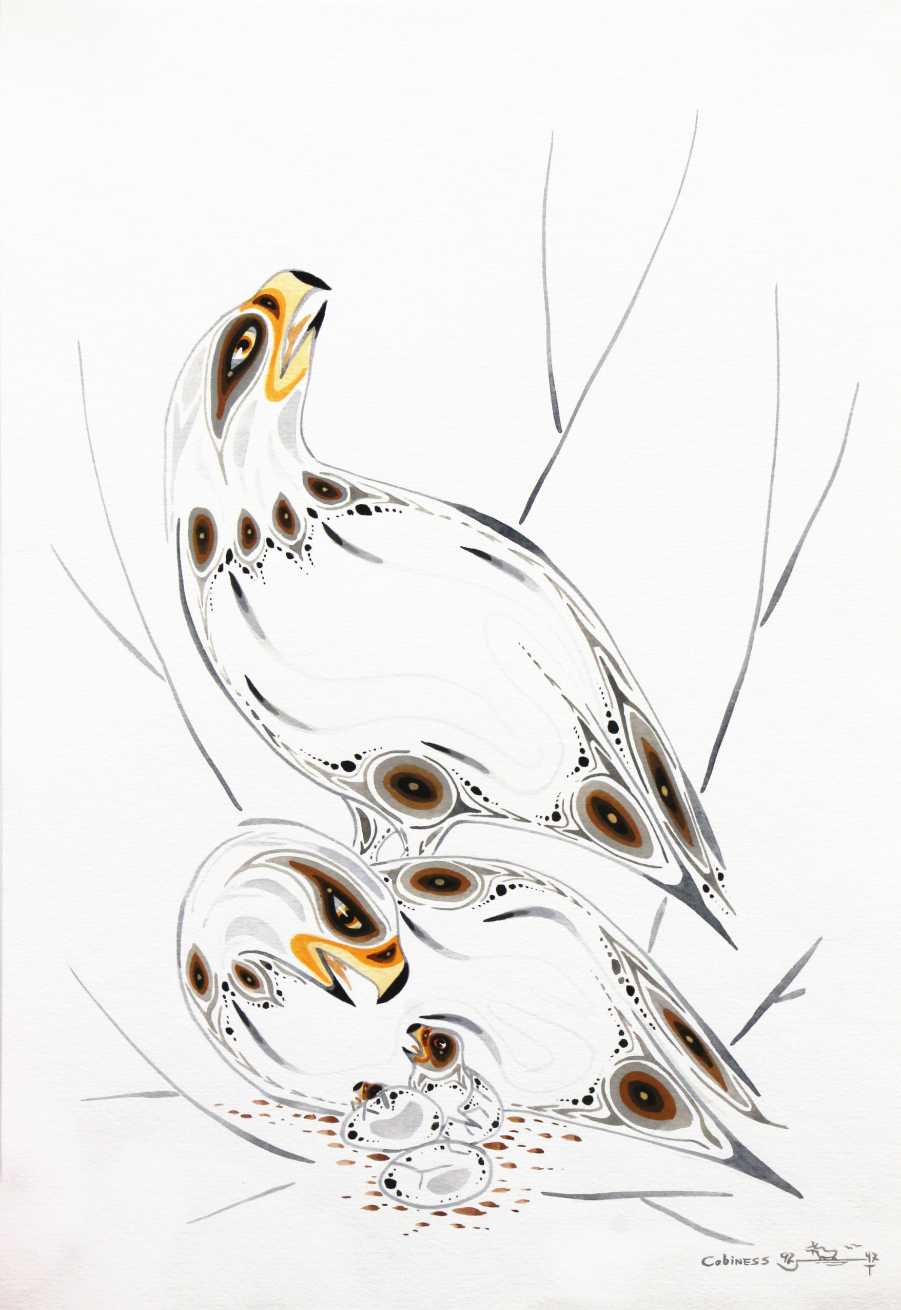 A watercolour painting of two eagles and their babies by Anishinaabe artist, Eddy Cobiness. Image is mostly white with very detailed lines and patterns used to create the shapes of the eagles.